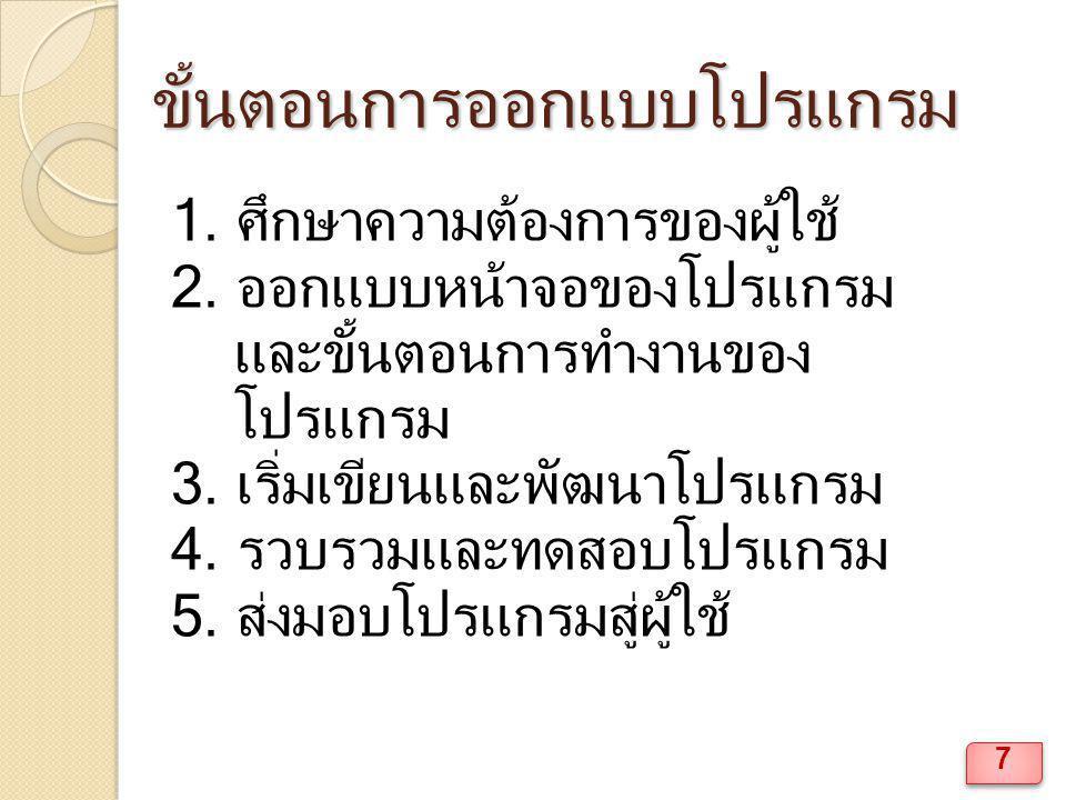 ตัวอย่างงาน Private Sub Command1_Click() Dim n As Integer n = 1 On n GoTo a, b Exit Sub a: Print 1 Exit Sub b: Print 2 Exit Sub End Sub 168