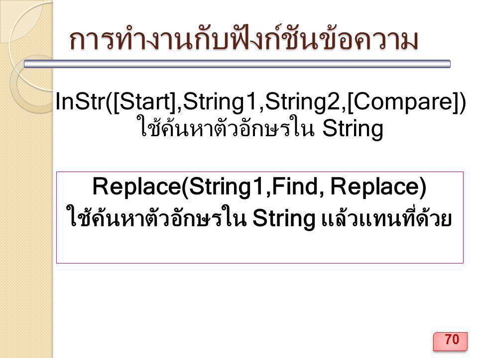 การทำงานกับฟังก์ชันข้อความ InStr([Start],String1,String2,[Compare]) ใช้ค้นหาตัวอักษรใน String Replace(String1,Find, Replace) ใช้ค้นหาตัวอักษรใน String แล้วแทนที่ด้วย 70