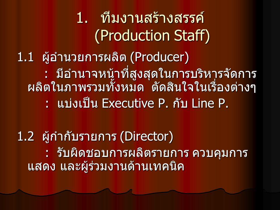 1. ทีมงานสร้างสรรค์ (Production Staff) 1.1 ผู้อำนวยการผลิต (Producer) : มีอำนาจหน้าที่สูงสุดในการบริหารจัดการ ผลิตในภาพรวมทั้งหมด ตัดสินใจในเรื่องต่าง