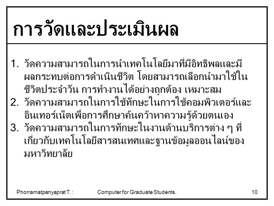 Phorramatpanyaprat T. :Computer for Graduate Students.10 1.วัดความสามารถในการนำเทคโนโลยีมาที่มีอิทธิพลและมี ผลกระทบต่อการดำเนินชีวิต โดยสามารถเลือกนำม