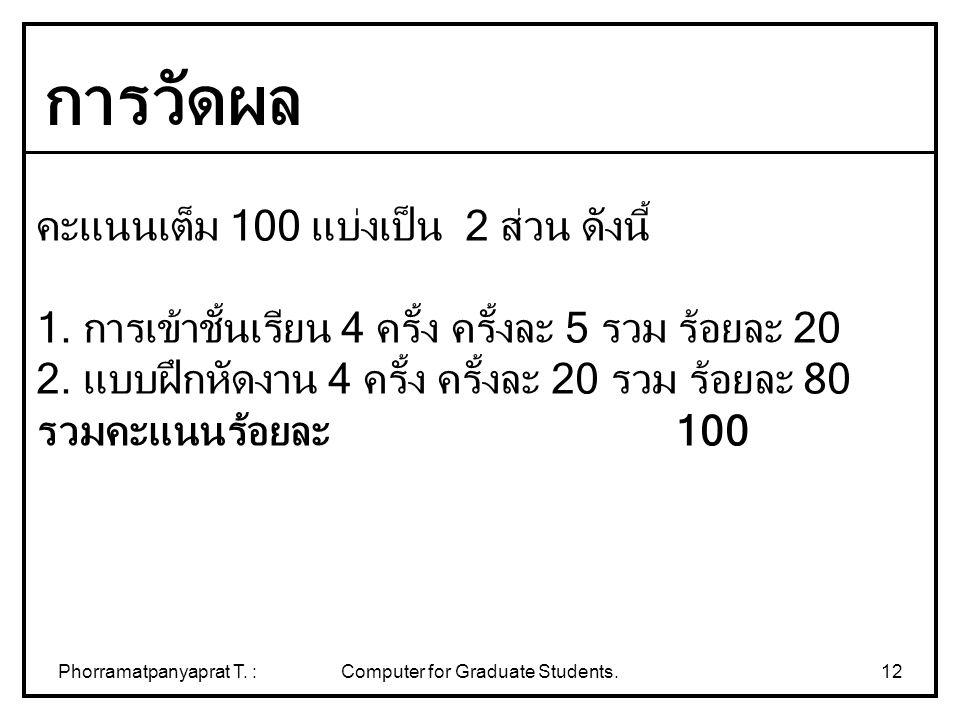 Phorramatpanyaprat T. :Computer for Graduate Students.12 คะแนนเต็ม 100 แบ่งเป็น 2 ส่วน ดังนี้ 1. การเข้าชั้นเรียน 4 ครั้ง ครั้งละ 5 รวม ร้อยละ 20 2. แ