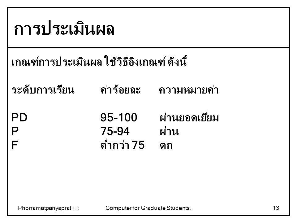 Phorramatpanyaprat T. :Computer for Graduate Students.13 เกณฑ์การประเมินผล ใช้วิธีอิงเกณฑ์ ดังนี้ ระดับการเรียน ค่าร้อยละ ความหมายค่า PD 95-100ผ่านยอด