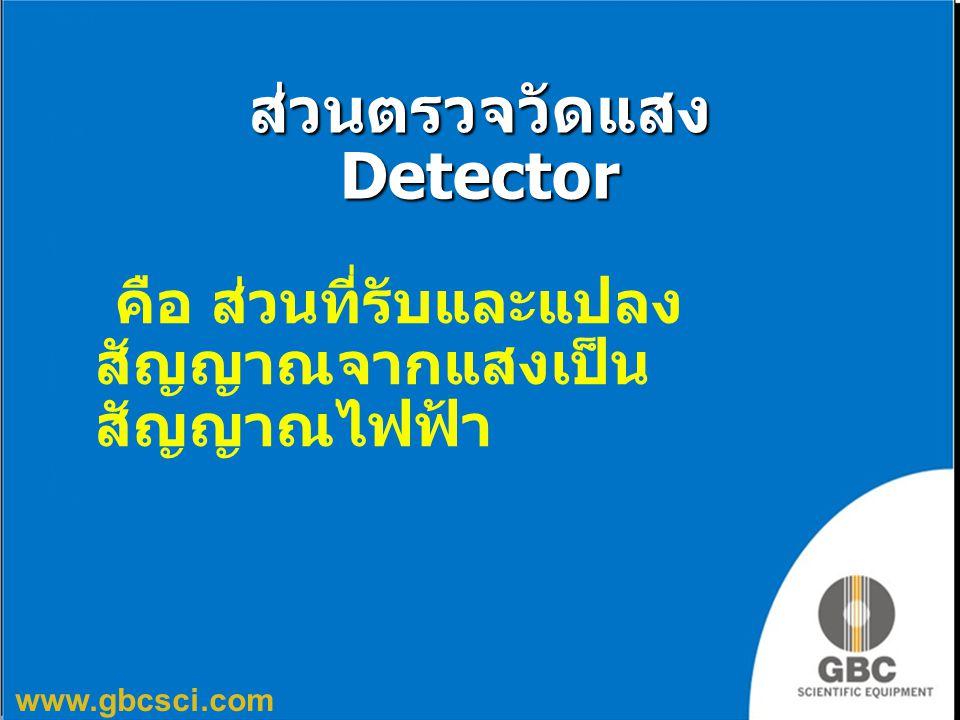 www.gbcsci.com ส่วนตรวจวัดแสง Detector คือ ส่วนที่รับและแปลง สัญญาณจากแสงเป็น สัญญาณไฟฟ้า