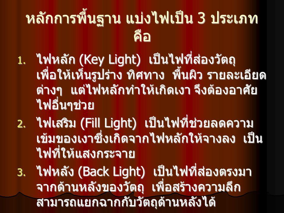 หลักการพื้นฐาน แบ่งไฟเป็น 3 ประเภท คือ 1. ไฟหลัก (Key Light) เป็นไฟที่ส่องวัตถุ เพื่อให้เห็นรูปร่าง ทิศทาง พื้นผิว รายละเอียด ต่างๆ แต่ไฟหลักทำให้เกิด