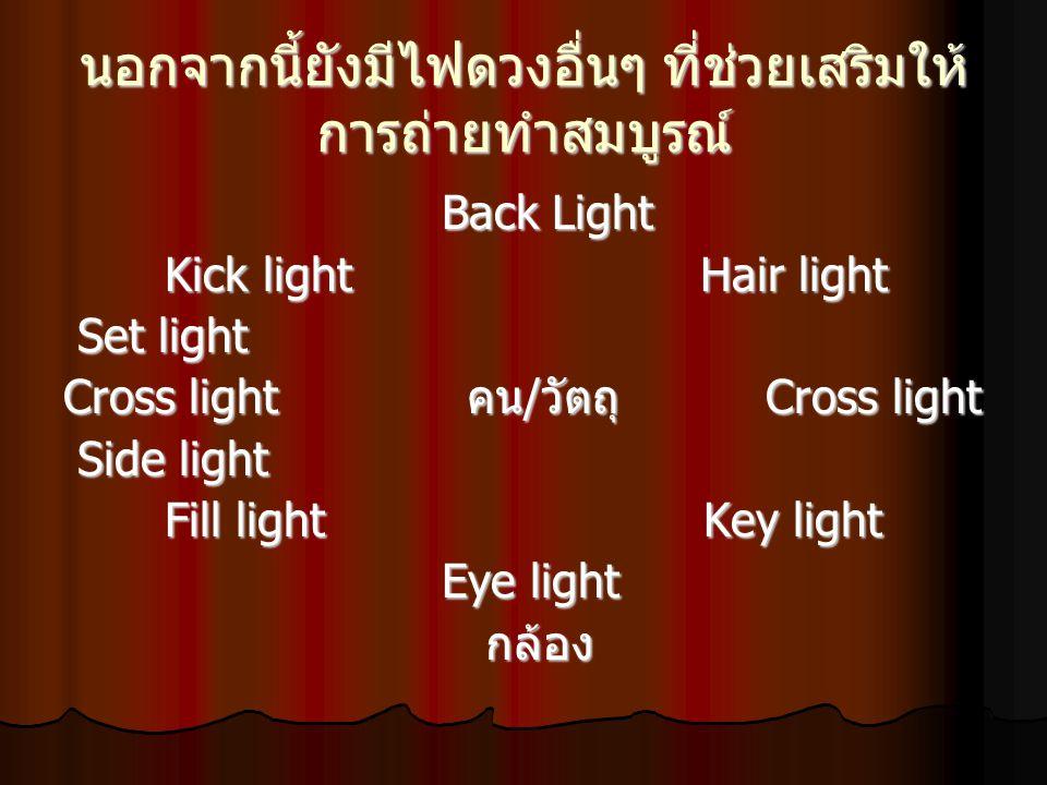 Side light ไฟข้าง เป็นไฟที่ใช้ส่อง ด้านข้างของคน / วัตถุ เพื่อช่วยเพิ่มจุดเด่น และลดเงา ในบางครั้งเราอาจใช้ไฟ ด้านข้างแทนไฟเสริมก็ได้ Side light ไฟข้าง เป็นไฟที่ใช้ส่อง ด้านข้างของคน / วัตถุ เพื่อช่วยเพิ่มจุดเด่น และลดเงา ในบางครั้งเราอาจใช้ไฟ ด้านข้างแทนไฟเสริมก็ได้ Set light ไฟพื้นหลัง หรือไฟฉากหลัง เพื่อช่วยแยกคน / วัตถุออกจากฉากหลัง ทำให้เห็นความลึกของภาพ ปกติแล้วจะ ให้ไฟส่องฉากมืดกว่าผู้แสดงเพื่อให้ผู้ แสดงเด่นออกมา Set light ไฟพื้นหลัง หรือไฟฉากหลัง เพื่อช่วยแยกคน / วัตถุออกจากฉากหลัง ทำให้เห็นความลึกของภาพ ปกติแล้วจะ ให้ไฟส่องฉากมืดกว่าผู้แสดงเพื่อให้ผู้ แสดงเด่นออกมา Kick light ไฟเฉียงด้านหลัง โดยส่อง กระทบทั้งไหล่และศีรษะ เพื่อแยกผู้ แสดงออกจากฉากหลัง ปกติจะวางไว้ ตำแหน่งตรงข้ามกับไฟหลัก แต่อยู่ต่ำกว่า ไฟหลัง Kick light ไฟเฉียงด้านหลัง โดยส่อง กระทบทั้งไหล่และศีรษะ เพื่อแยกผู้ แสดงออกจากฉากหลัง ปกติจะวางไว้ ตำแหน่งตรงข้ามกับไฟหลัก แต่อยู่ต่ำกว่า ไฟหลัง
