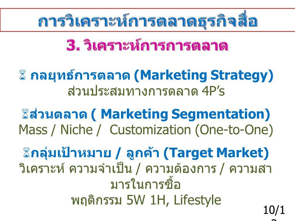  กลยุทธ์การตลาด (Marketing Strategy) ส่วนประสมทางการตลาด 4P's  ส่วนตลาด ( Marketing Segmentation) Mass / Niche / Customization (One-to-One)  กลุ่มเ