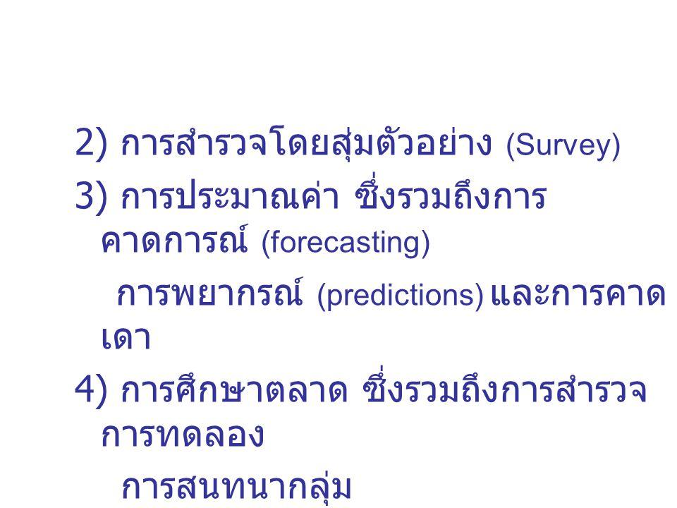 2) การสำรวจโดยสุ่มตัวอย่าง (Survey) 3) การประมาณค่า ซึ่งรวมถึงการ คาดการณ์ (forecasting) การพยากรณ์ (predictions) และการคาด เดา 4) การศึกษาตลาด ซึ่งรวมถึงการสำรวจ การทดลอง การสนทนากลุ่ม