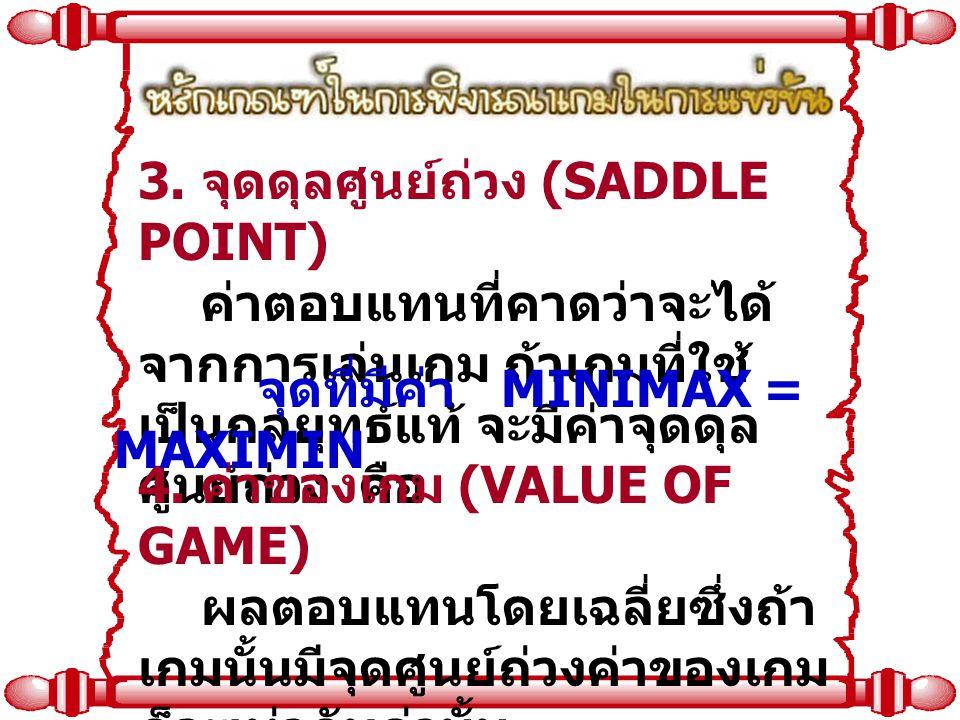 3. จุดดุลศูนย์ถ่วง (SADDLE POINT) ค่าตอบแทนที่คาดว่าจะได้ จากการเล่นเกม ถ้าเกมที่ใช้ เป็นกลยุทธ์แท้ จะมีค่าจุดดุล ศูนย์ถ่วง คือ 4. ค่าของเกม (VALUE OF