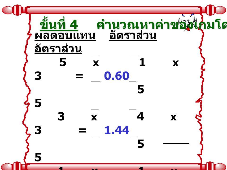 ผลตอบแทน อัตราส่วน อัตราส่วน 5 x 1 x 3 = 0.60 5 5 3 x 4 x 3 = 1.44 5 5 1 x 1 x 2 = 0.08 5 5 4 x 4 x 2 = 1.28 5 5 ค่าของเกม เท่ากับ 3.40 ขั้นที่ 4 คำนว