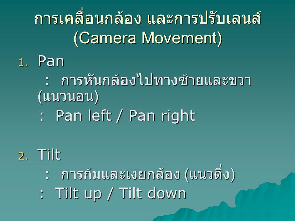 การเคลื่อนกล้อง และการปรับเลนส์ (Camera Movement) 1.