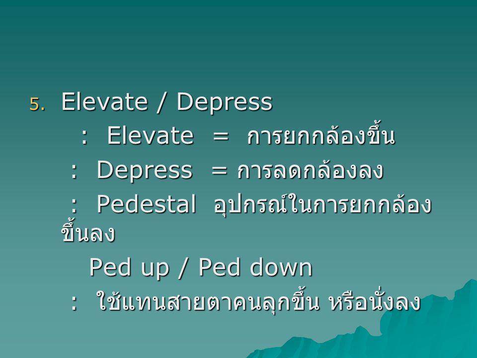 5. Elevate / Depress : Elevate = การยกกล้องขึ้น : Elevate = การยกกล้องขึ้น : Depress = การลดกล้องลง : Depress = การลดกล้องลง : Pedestal อุปกรณ์ในการยก