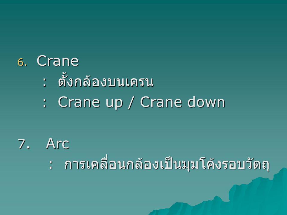 6.Crane : ตั้งกล้องบนเครน : ตั้งกล้องบนเครน : Crane up / Crane down : Crane up / Crane down 7.