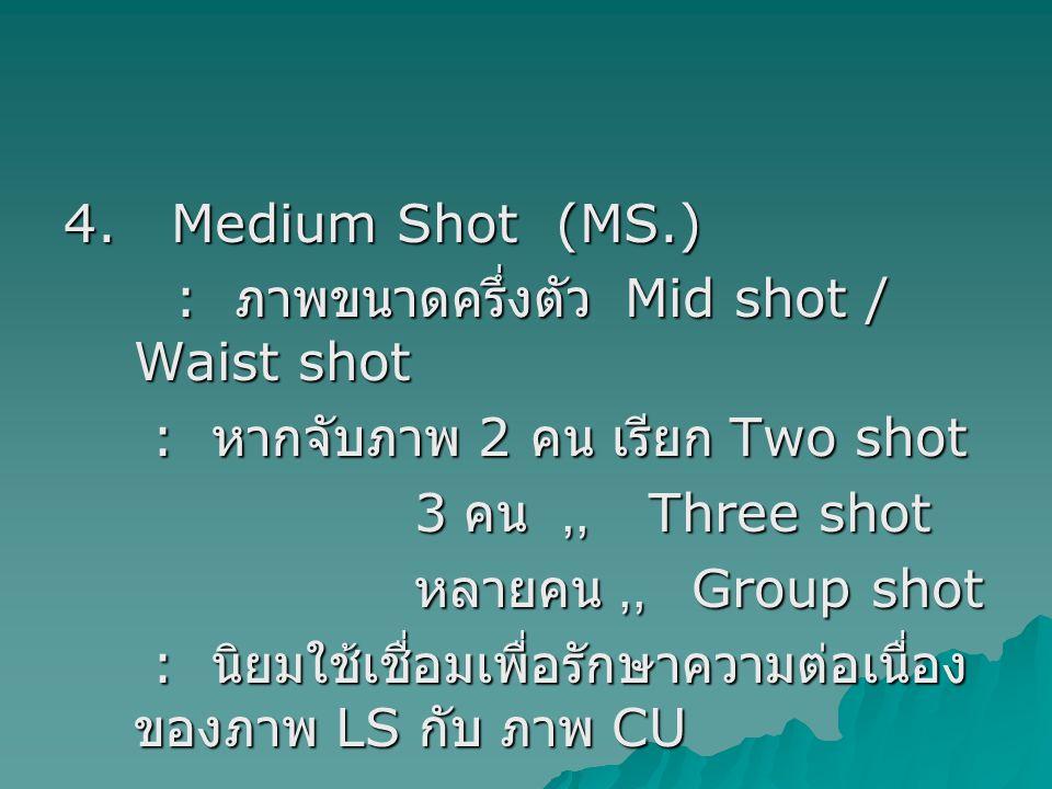4. Medium Shot (MS.) : ภาพขนาดครึ่งตัว Mid shot / Waist shot : ภาพขนาดครึ่งตัว Mid shot / Waist shot : หากจับภาพ 2 คน เรียก Two shot : หากจับภาพ 2 คน