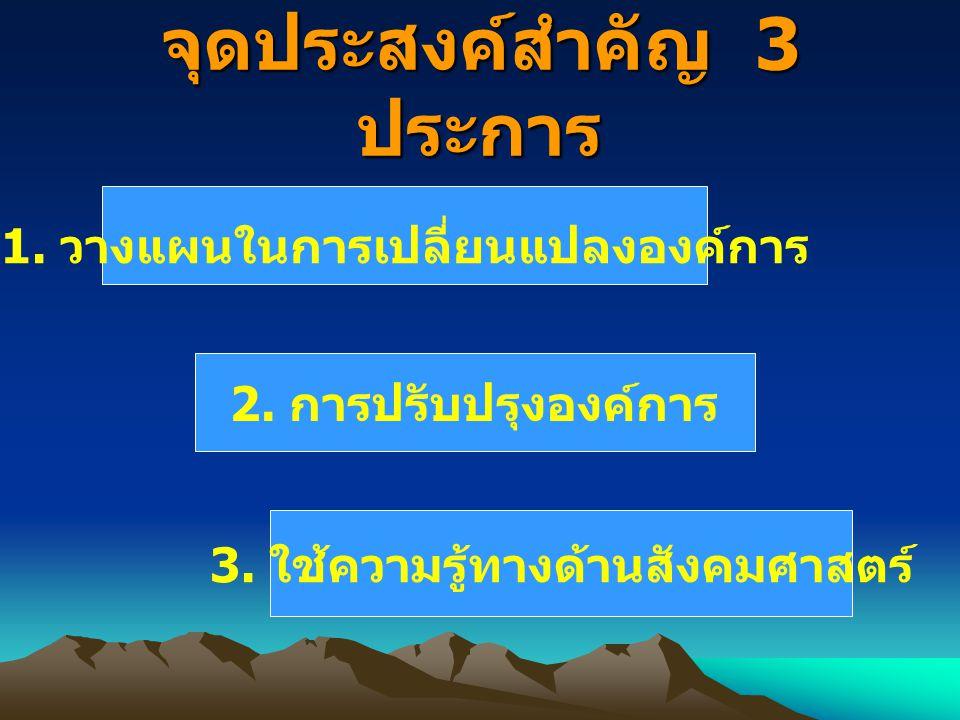 จุดประสงค์สำคัญ 3 ประการ 1.วางแผนในการเปลี่ยนแปลงองค์การ 2.
