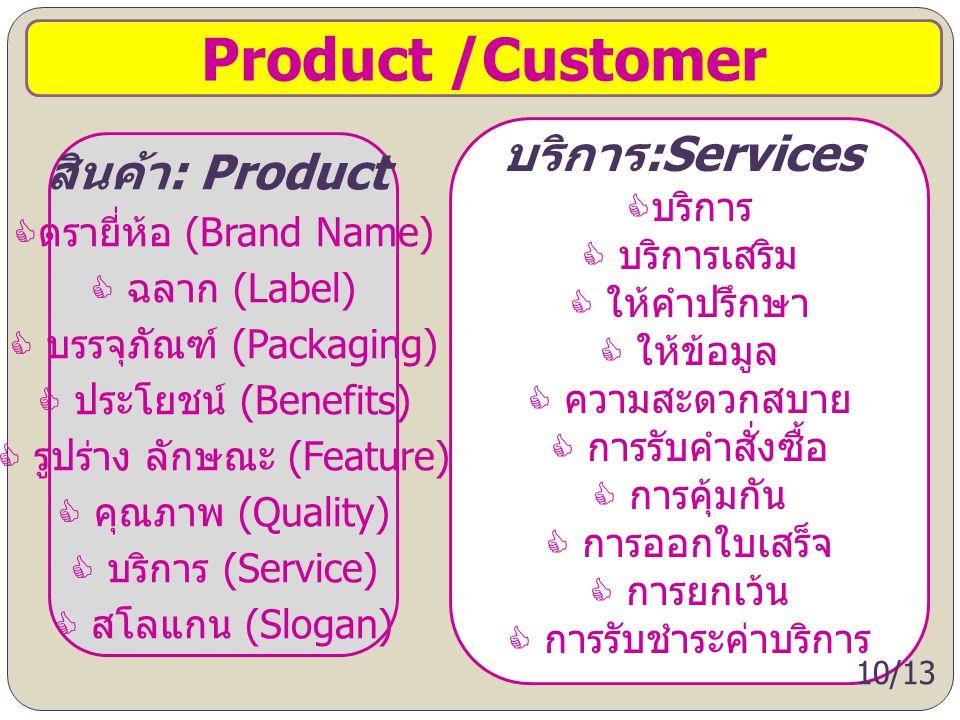 Product /Customer สินค้า : Product  ตรายี่ห้อ (Brand Name)  ฉลาก (Label)  บรรจุภัณฑ์ (Packaging)  ประโยชน์ (Benefits)  รูปร่าง ลักษณะ (Feature) 