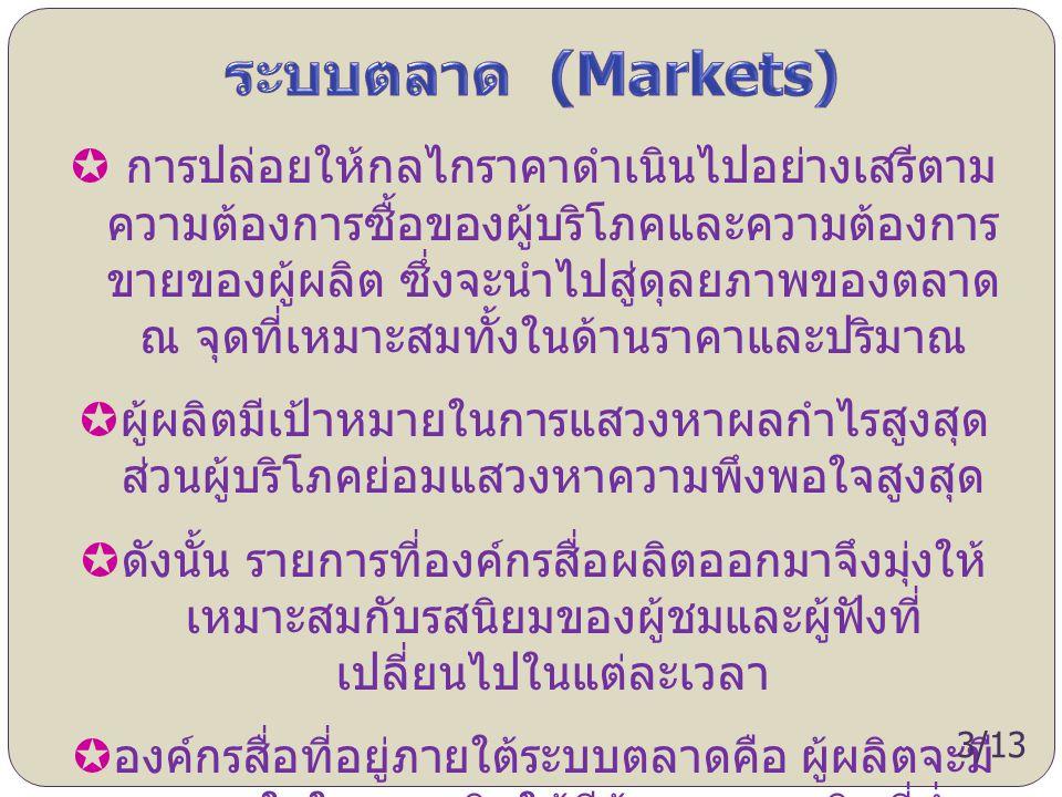  การปล่อยให้กลไกราคาดำเนินไปอย่างเสรีตาม ความต้องการซื้อของผู้บริโภคและความต้องการ ขายของผู้ผลิต ซึ่งจะนำไปสู่ดุลยภาพของตลาด ณ จุดที่เหมาะสมทั้งในด้า