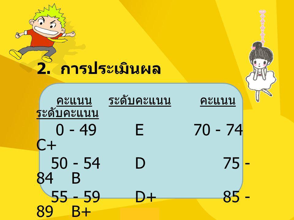 2. การประเมินผล คะแนน ระดับคะแนน คะแนน ระดับคะแนน 0 - 49 E 70 - 74 C+ 50 - 54 D 75 - 84 B 55 - 59 D+ 85 - 89 B+ 60 - 69 C 90 - 100 A