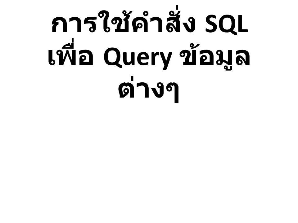 การใช้คำสั่ง SQL เพื่อ Query ข้อมูล ต่างๆ
