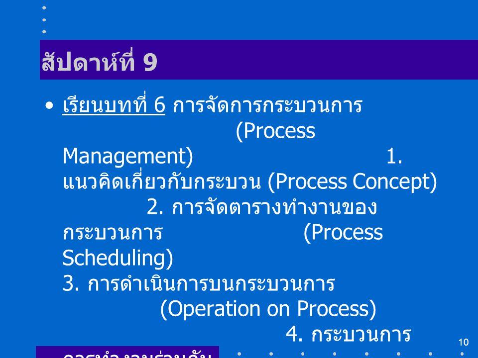 10 สัปดาห์ที่ 9 เรียนบทที่ 6 การจัดการกระบวนการ (Process Management) 1. แนวคิดเกี่ยวกับกระบวน (Process Concept) 2. การจัดตารางทำงานของ กระบวนการ (Proc