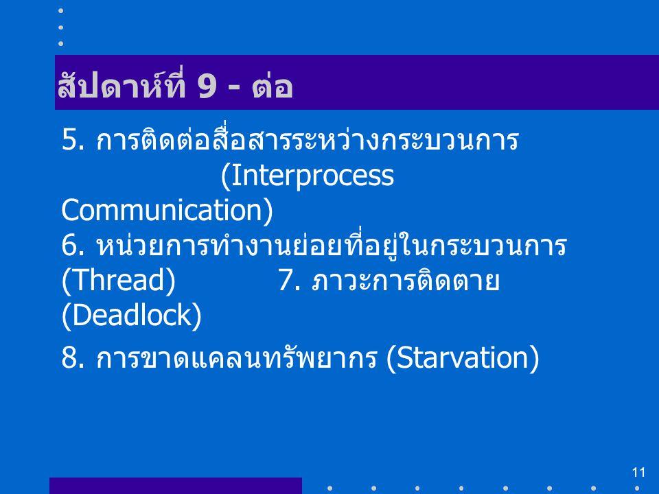 11 สัปดาห์ที่ 9 - ต่อ 5. การติดต่อสื่อสารระหว่างกระบวนการ (Interprocess Communication) 6. หน่วยการทำงานย่อยที่อยู่ในกระบวนการ (Thread) 7. ภาวะการติดตา