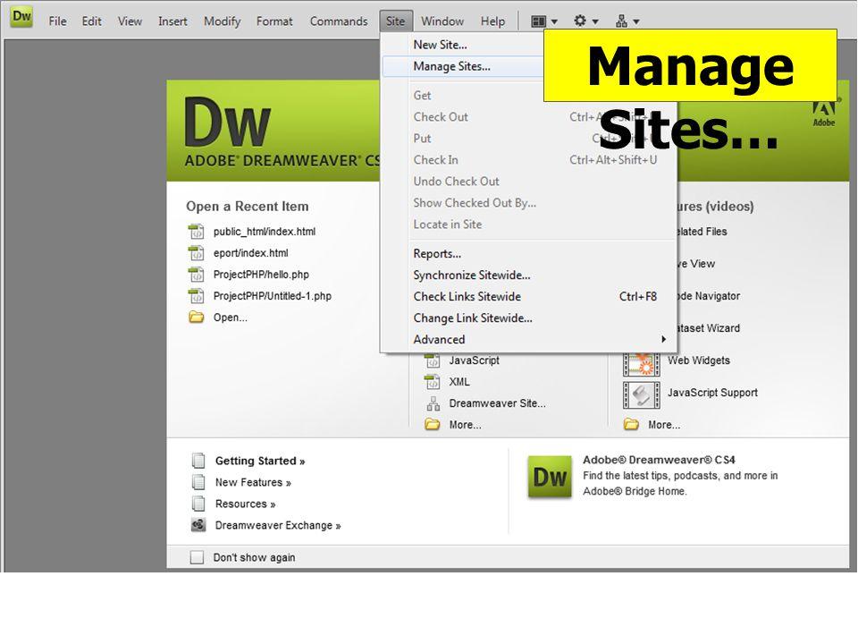 Manage Sites…