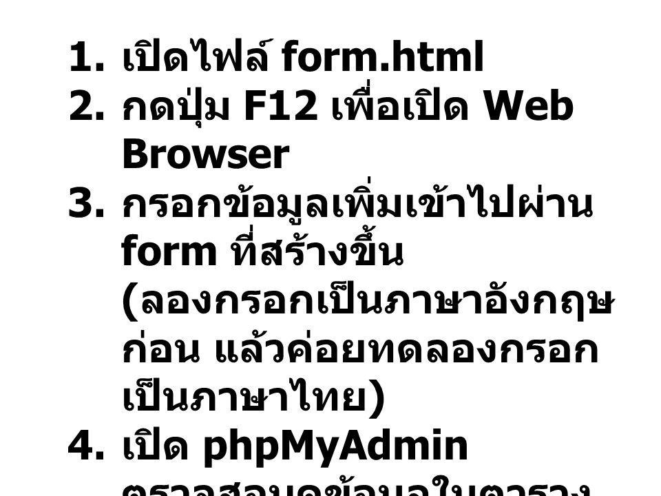 1. เปิดไฟล์ form.html 2. กดปุ่ม F12 เพื่อเปิด Web Browser 3. กรอกข้อมูลเพิ่มเข้าไปผ่าน form ที่สร้างขึ้น ( ลองกรอกเป็นภาษาอังกฤษ ก่อน แล้วค่อยทดลองกรอ