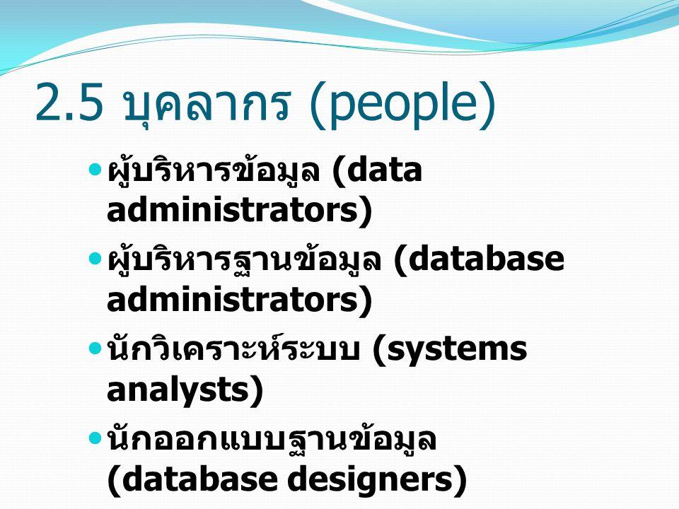 ผู้บริหารข้อมูล (data administrators) ผู้บริหารฐานข้อมูล (database administrators) นักวิเคราะห์ระบบ (systems analysts) นักออกแบบฐานข้อมูล (database de