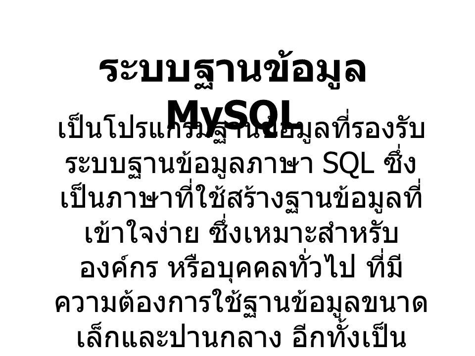 ระบบฐานข้อมูล MySQL เป็นโปรแกรมฐานข้อมูลที่รองรับ ระบบฐานข้อมูลภาษา SQL ซึ่ง เป็นภาษาที่ใช้สร้างฐานข้อมูลที่ เข้าใจง่าย ซึ่งเหมาะสำหรับ องค์กร หรือบุคคลทั่วไป ที่มี ความต้องการใช้ฐานข้อมูลขนาด เล็กและปานกลาง อีกทั้งเป็น freeware และรองรับ ระบบปฏิบัติการ Windows และ Linux