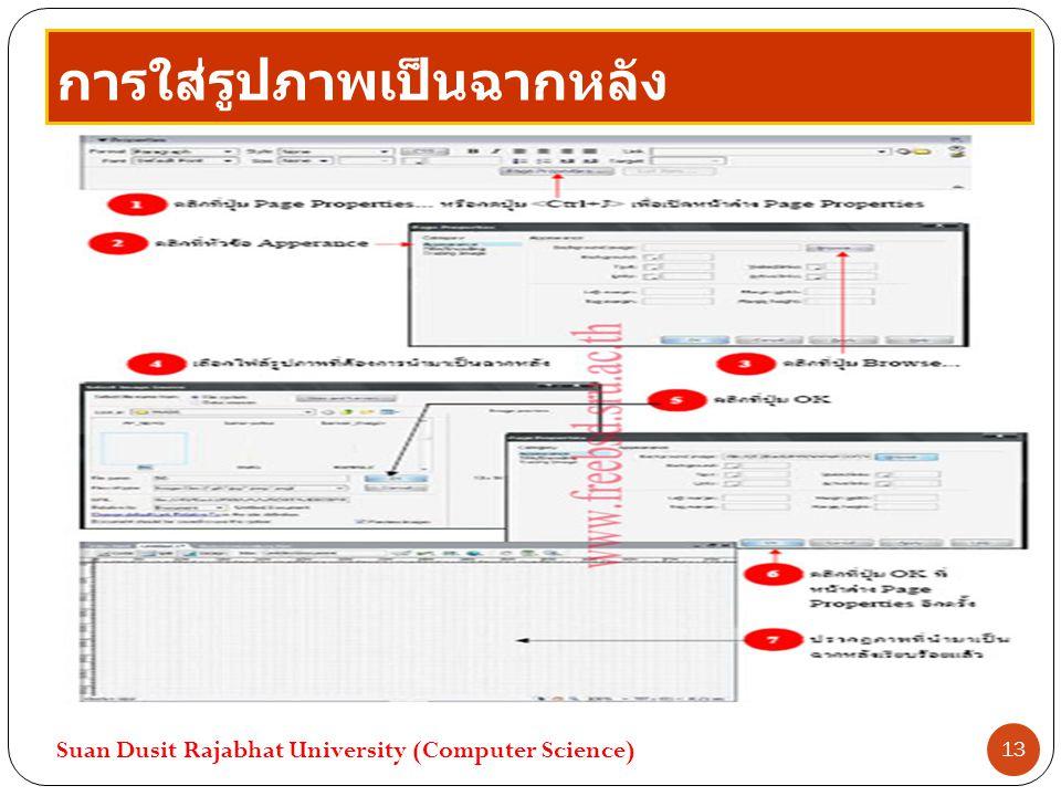 การใส่รูปภาพเป็นฉากหลัง Suan Dusit Rajabhat University (Computer Science) 13