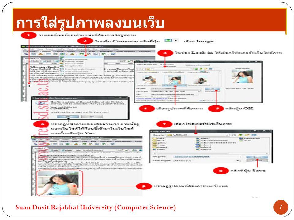 การใส่รูปภาพลงบนเว็บ Suan Dusit Rajabhat University (Computer Science) 7