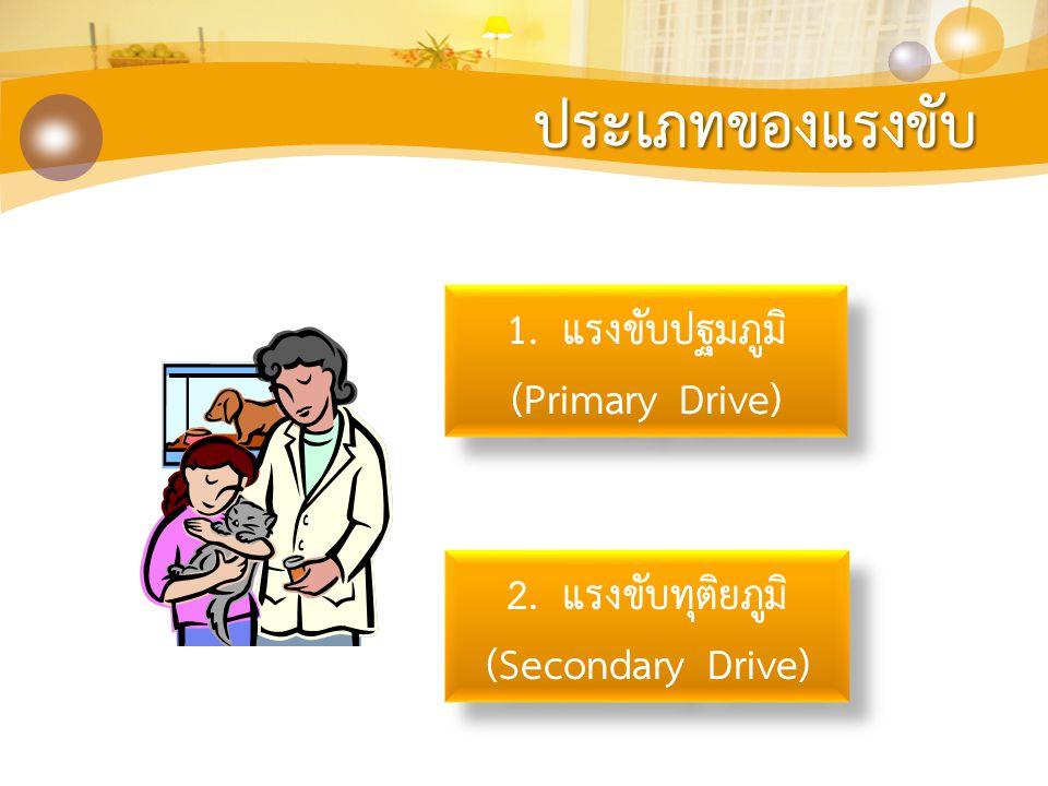 ประเภทของแรงขับ 1. แรงขับปฐมภูมิ (Primary Drive) 1. แรงขับปฐมภูมิ (Primary Drive) 2. แรงขับทุติยภูมิ (Secondary Drive) 2. แรงขับทุติยภูมิ (Secondary D