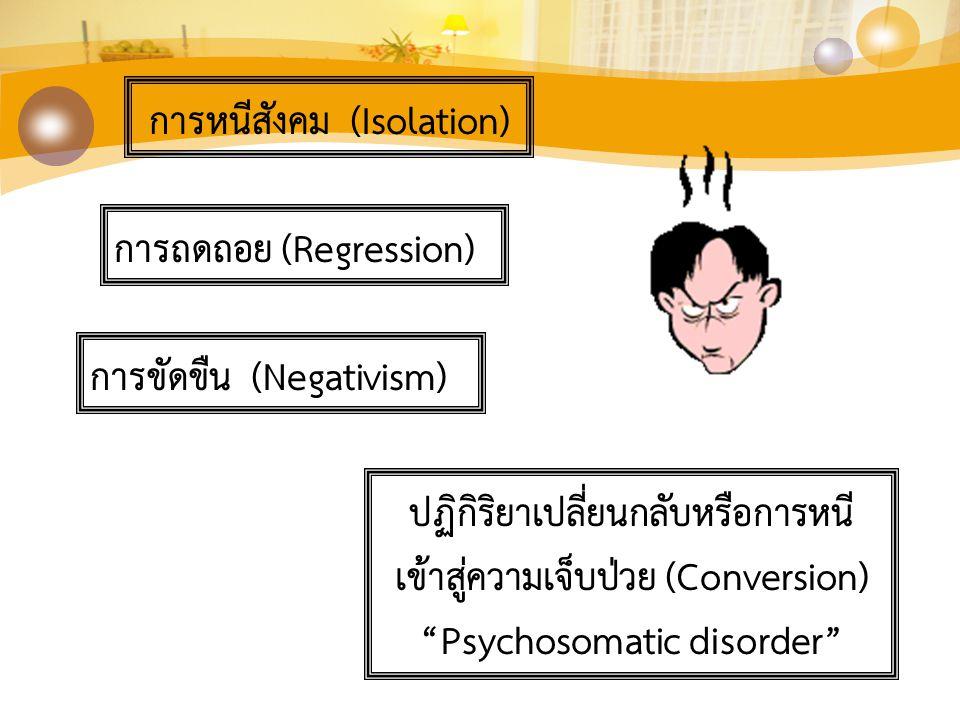 """การหนีสังคม (Isolation) การถดถอย (Regression) การขัดขืน (Negativism) ปฏิกิริยาเปลี่ยนกลับหรือการหนี เข้าสู่ความเจ็บป่วย (Conversion) """"Psychosomatic di"""