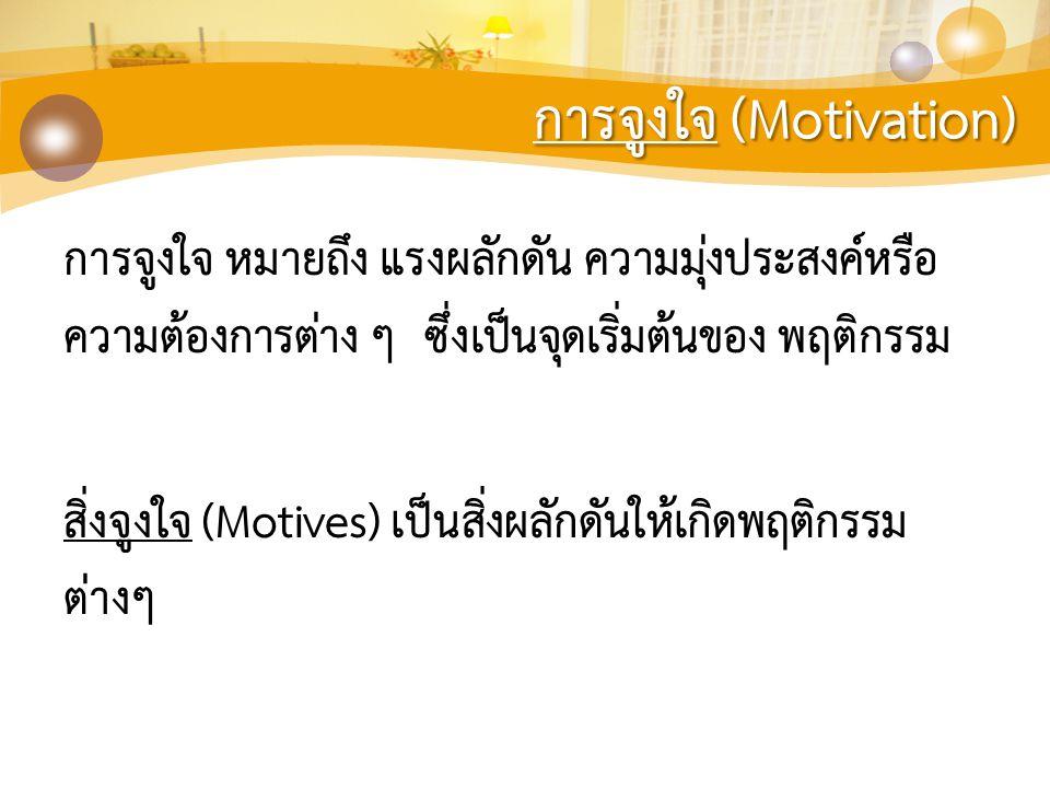 การจูงใจ (Motivation) การจูงใจ หมายถึง แรงผลักดัน ความมุ่งประสงค์หรือ ความต้องการต่าง ๆ ซึ่งเป็นจุดเริ่มต้นของ พฤติกรรม สิ่งจูงใจ (Motives) เป็นสิ่งผล