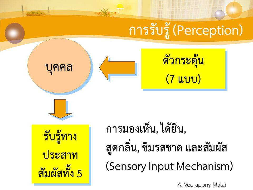 การรับรู้ (Perception) ตัวกระตุ้น (7 แบบ) ตัวกระตุ้น (7 แบบ) บุคคล รับรู้ทาง ประสาท สัมผัสทั้ง 5 รับรู้ทาง ประสาท สัมผัสทั้ง 5 การมองเห็น, ได้ยิน, สูด