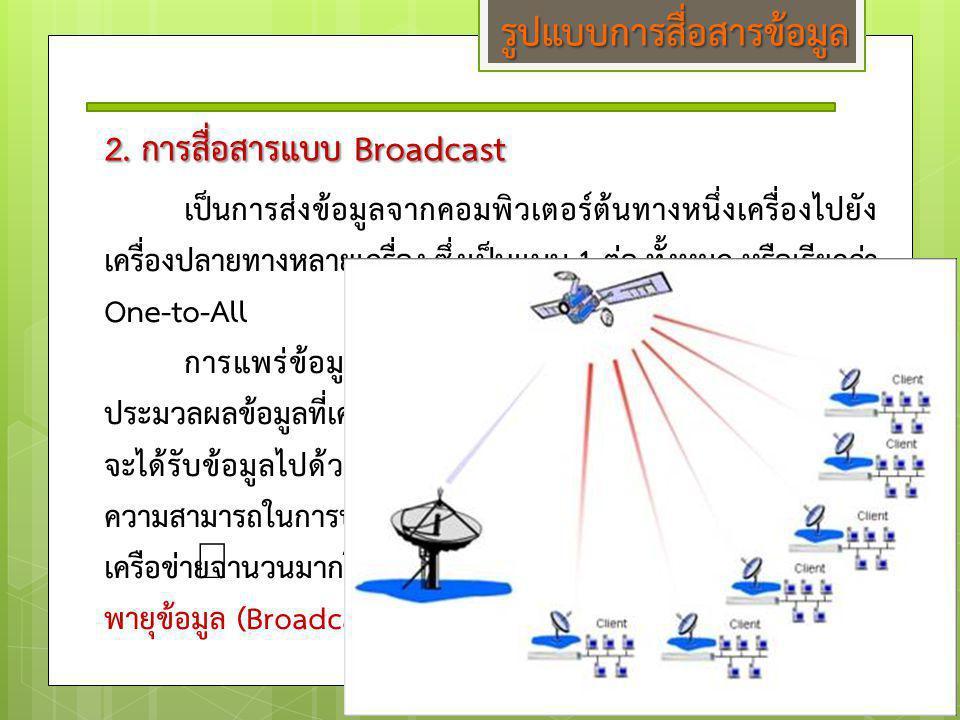 2. การสื่อสารแบบ Broadcast เป็นการส่งข้อมูลจากคอมพิวเตอร์ต้นทางหนึ่งเครื่องไปยัง เครื่องปลายทางหลายเครื่อง ซึ่งเป็นแบบ 1 ต่อ ทั้งหมด หรือเรียกว่า One-