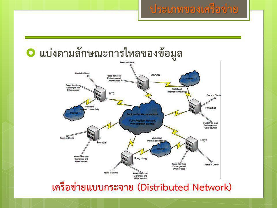  แบ่งตามลักษณะการไหลของข้อมูล เครือข่ายแบบกระจาย (Distributed Network) ประเภทของเครือข่าย
