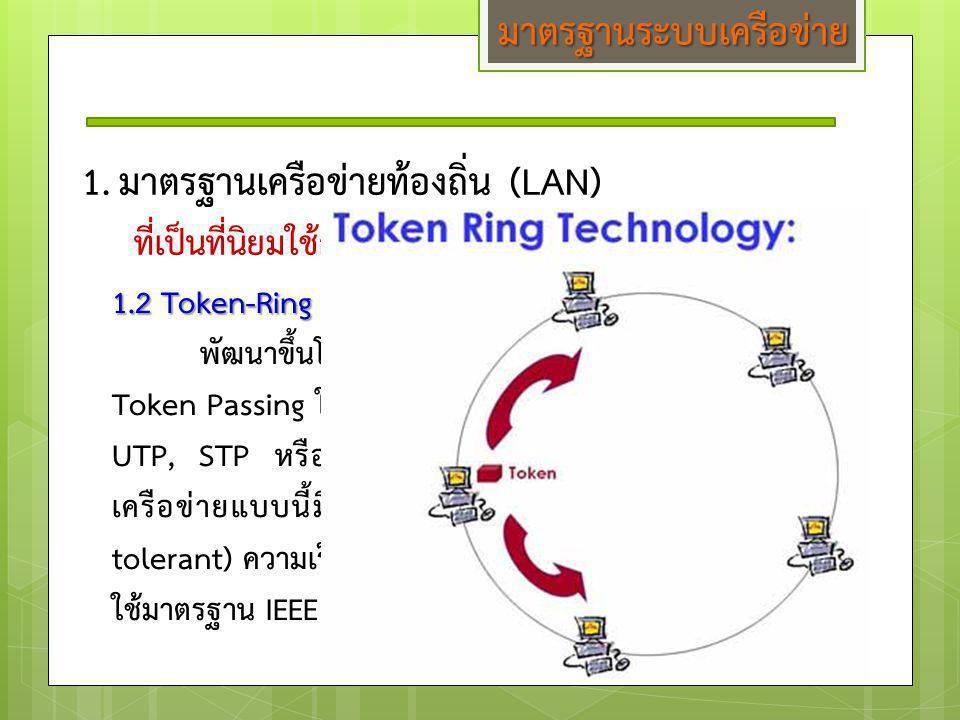1.มาตรฐานเครือข่ายท้องถิ่น (LAN) ที่เป็นที่นิยมใช้กันมากในปัจจุบัน โดยทั่วไปมี 3 แบบ คือ 1.2 Token-Ring พัฒนาขึ้นโดยบริษัท IBM จะใช้ Access Method แบบ