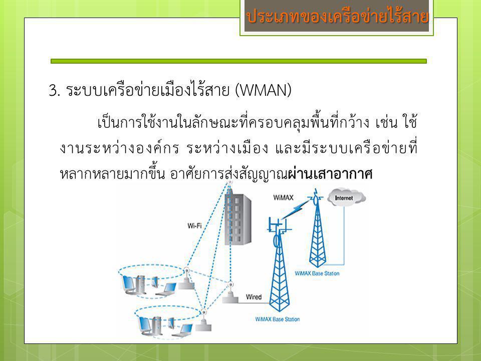 3. ระบบเครือข่ายเมืองไร้สาย (WMAN) เป็นการใช้งานในลักษณะที่ครอบคลุมพื้นที่กว้าง เช่น ใช้ งานระหว่างองค์กร ระหว่างเมือง และมีระบบเครือข่ายที่ หลากหลายม