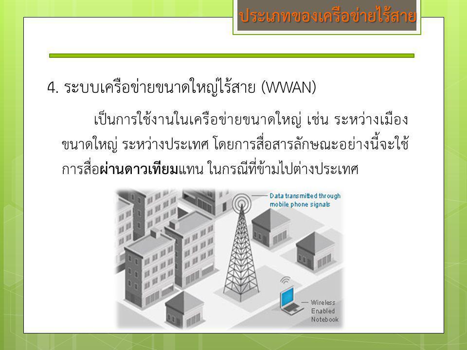 4. ระบบเครือข่ายขนาดใหญ่ไร้สาย (WWAN) เป็นการใช้งานในเครือข่ายขนาดใหญ่ เช่น ระหว่างเมือง ขนาดใหญ่ ระหว่างประเทศ โดยการสื่อสารลักษณะอย่างนี้จะใช้ การสื