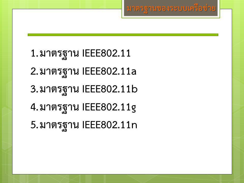 มาตรฐานของระบบเครือข่าย 1.มาตรฐาน IEEE802.11 2.มาตรฐาน IEEE802.11a 3.มาตรฐาน IEEE802.11b 4.มาตรฐาน IEEE802.11g 5.มาตรฐาน IEEE802.11n