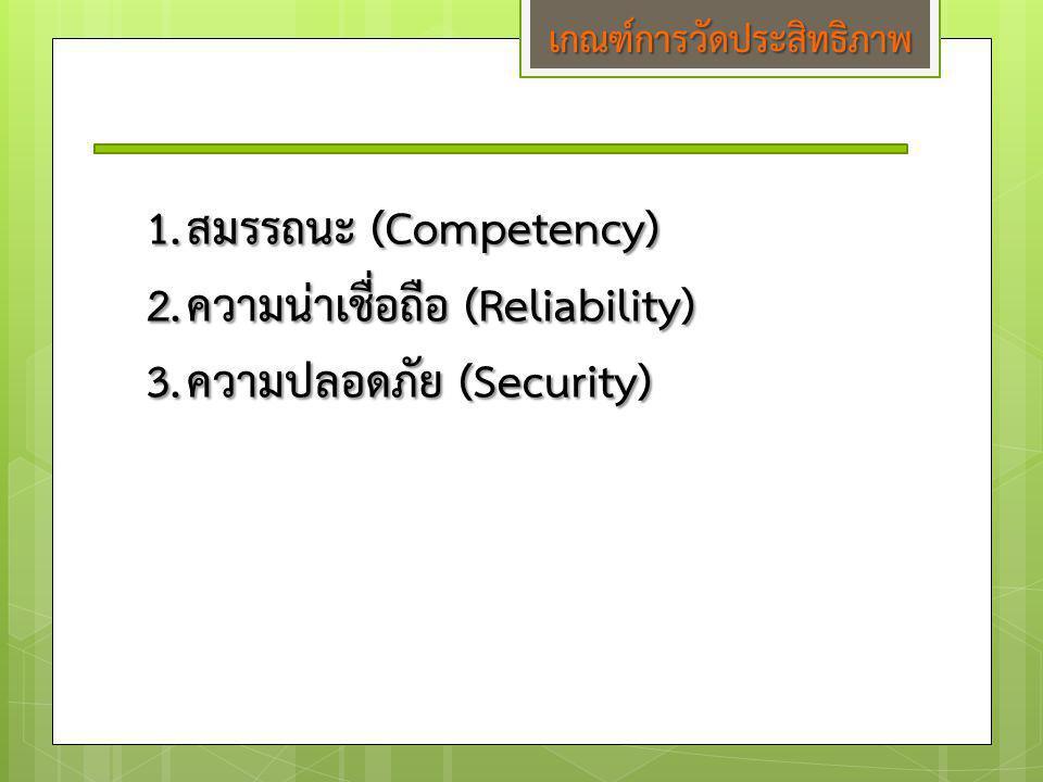 เกณฑ์การวัดประสิทธิภาพ 1.สมรรถนะ (Competency) 2.ความน่าเชื่อถือ (Reliability) 3.ความปลอดภัย (Security)