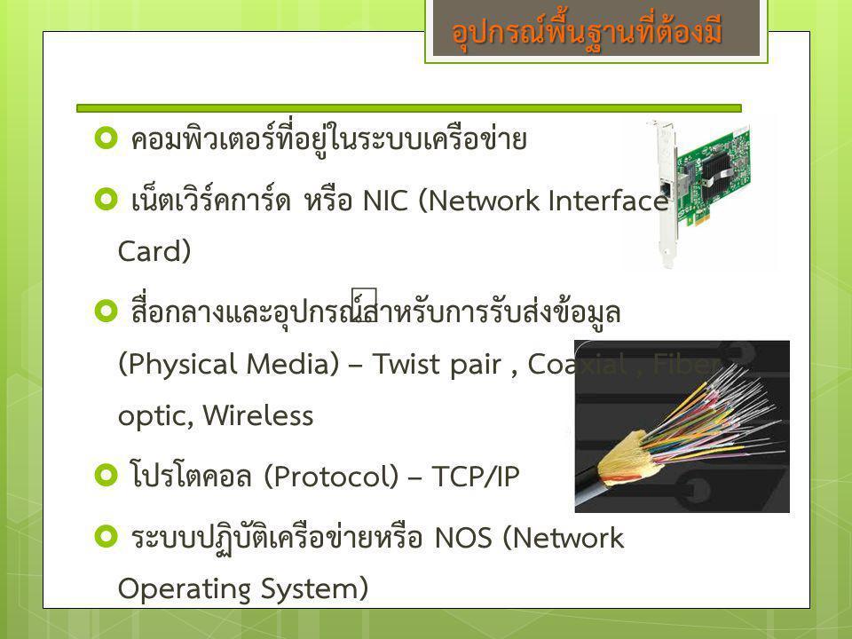 อุปกรณ์พื้นฐานที่ต้องมี  คอมพิวเตอร์ที่อยู่ในระบบเครือข่าย  เน็ตเวิร์คการ์ด หรือ NIC (Network Interface Card)  สื่อกลางและอุปกรณ์สำหรับการรับส่งข้อ
