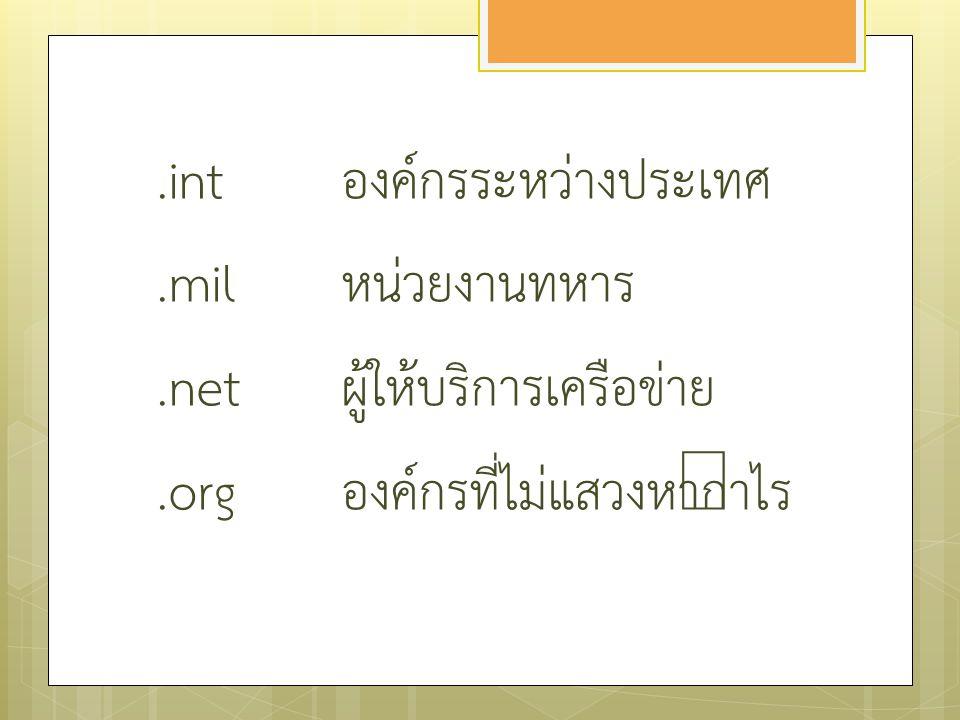 .ac.th สถานศึกษาในประเทศไทย.co.th บริษัทที่ทำธุรกิจในประเทศไทย.go.th หน่วยงานต่างๆ ของรัฐบาล โดเมนในประเทศไทย
