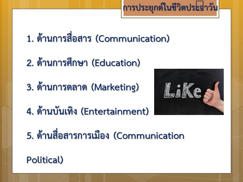 การประยุกต์ในชีวิตประจำวัน 1. ด้านการสื่อสาร (Communication) 2. ด้านการศึกษา (Education) 3. ด้านการตลาด (Marketing) 4. ด้านบันเทิง (Entertainment) 5.