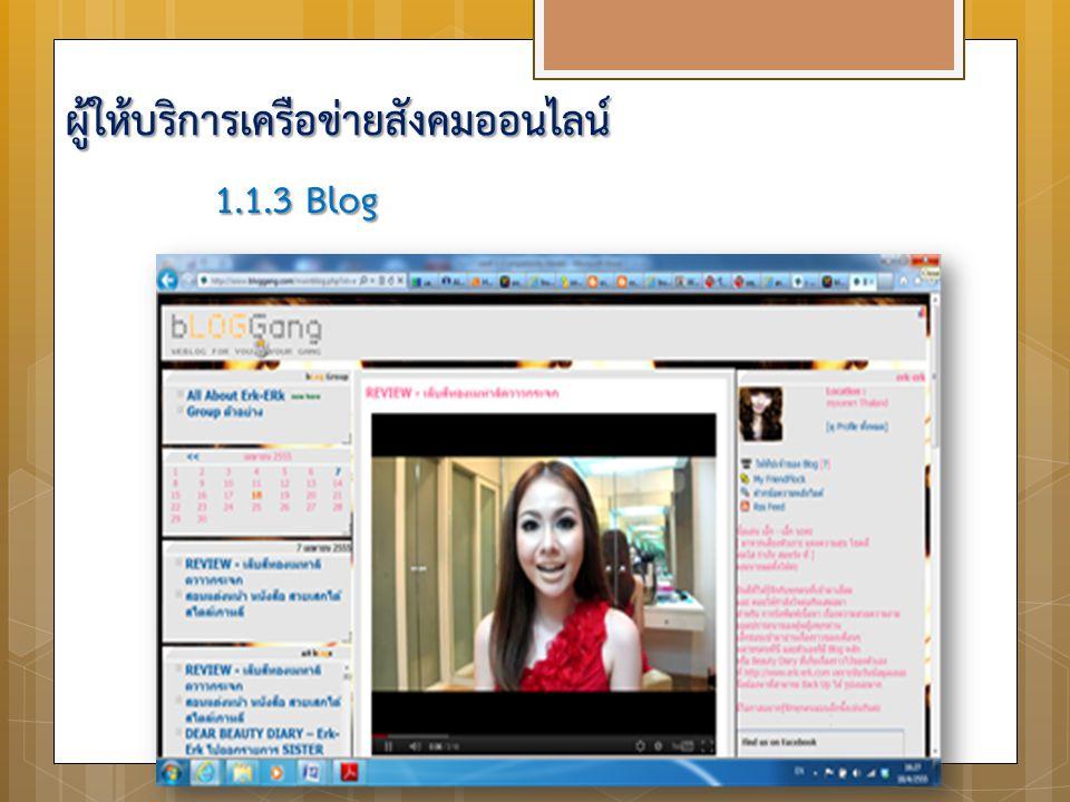 1.1.3 Blog ผู้ให้บริการเครือข่ายสังคมออนไลน์