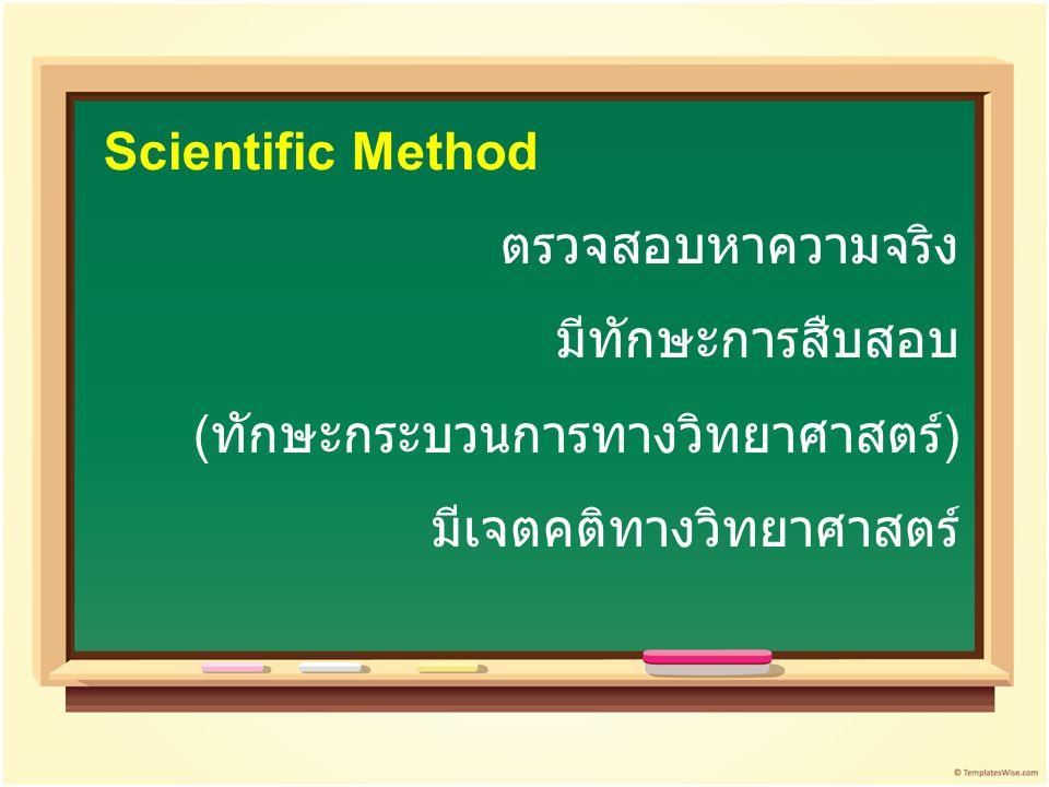 ตรวจสอบหาความจริง มีทักษะการสืบสอบ ( ทักษะกระบวนการทางวิทยาศาสตร์ ) มีเจตคติทางวิทยาศาสตร์ Scientific Method