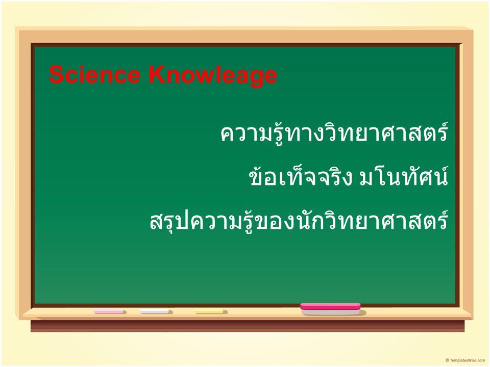 ความรู้ทางวิทยาศาสตร์ ข้อเท็จจริง มโนทัศน์ สรุปความรู้ของนักวิทยาศาสตร์ Science Knowleage