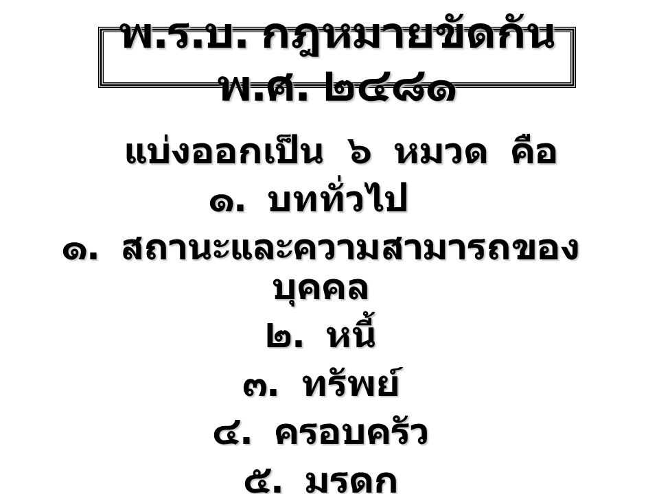 พ. ร. บ. กฎหมายขัดกัน พ. ศ. ๒๔๘๑ แบ่งออกเป็น ๖ หมวด คือ ๑. บททั่วไป ๑. สถานะและความสามารถของ บุคคล ๒. หนี้ ๓. ทรัพย์ ๔. ครอบครัว ๕. มรดก