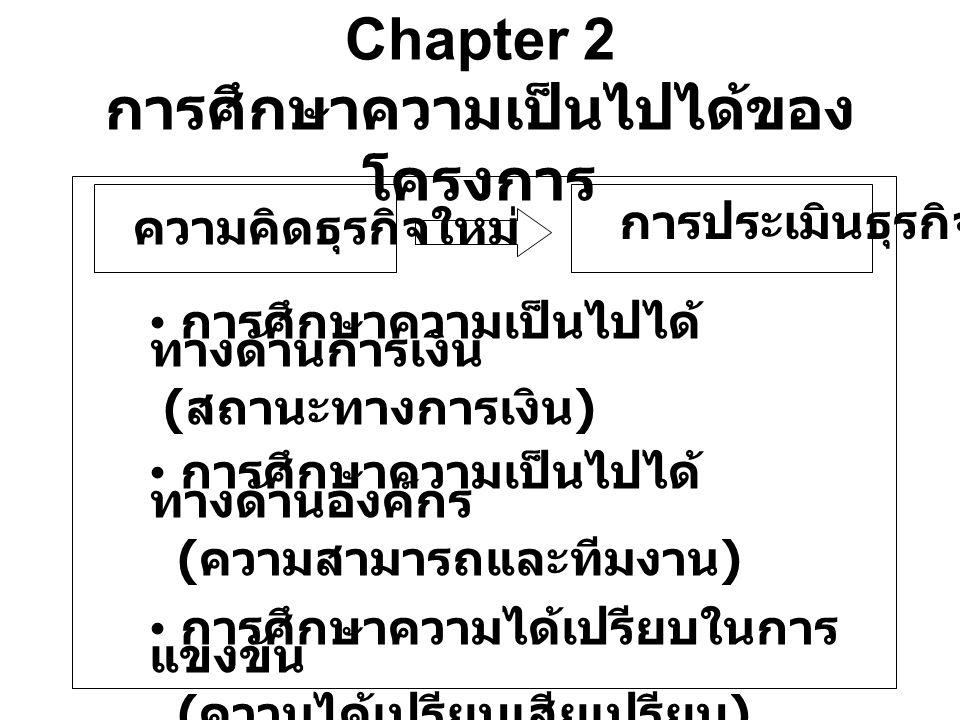 Chapter 2 การศึกษาความเป็นไปได้ของ โครงการ ความคิดธุรกิจใหม่ การประเมินธุรกิจ การศึกษาความเป็นไปได้ ทางด้านการเงิน ( สถานะทางการเงิน ) การศึกษาความเป็