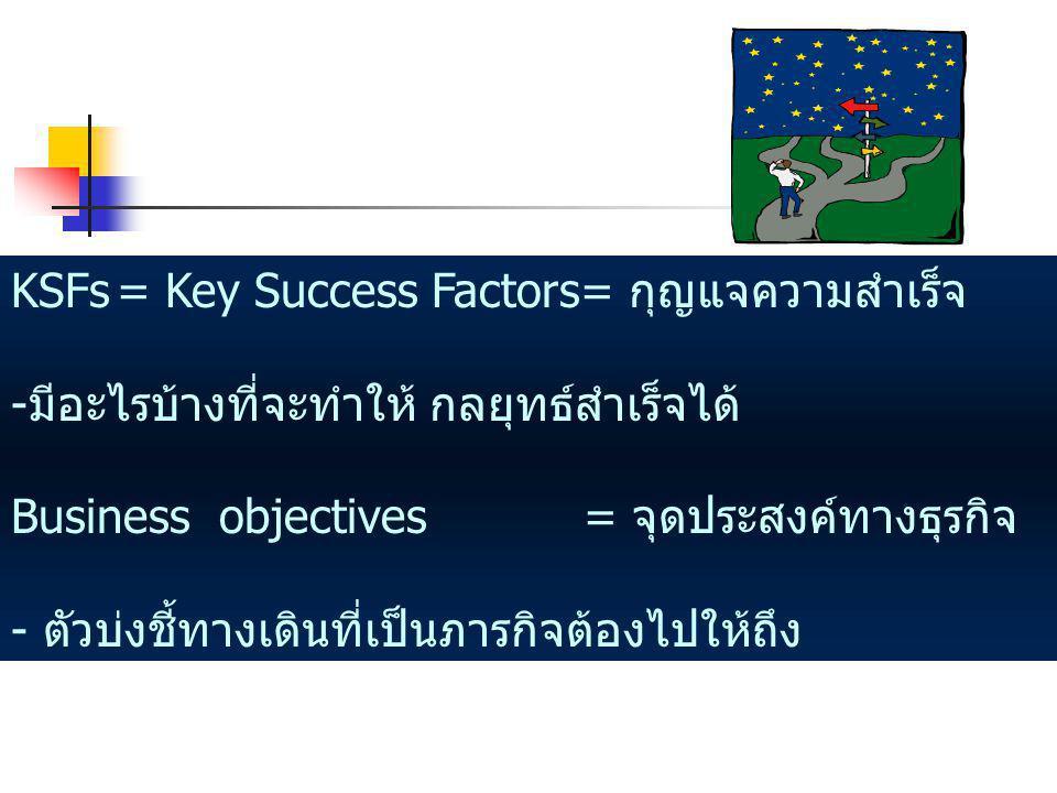 KSFs= Key Success Factors= กุญแจความสำเร็จ -มีอะไรบ้างที่จะทำให้ กลยุทธ์สำเร็จได้ Business objectives = จุดประสงค์ทางธุรกิจ - ตัวบ่งชี้ทางเดินที่เป็นภารกิจต้องไปให้ถึง
